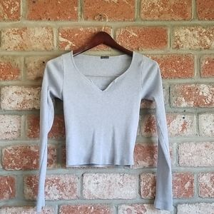 Brandy Melville long sleeve gray ribbed tee tshirt